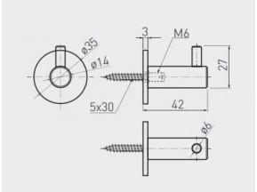 14-06-QUAD- WS Крючок никель шлиф сталь