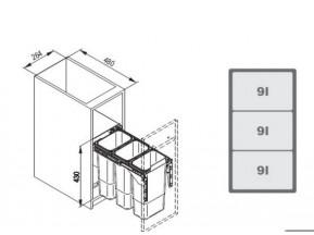 Ведро для мусора JC 604 L-300mm (264*480*430) без кр/фасада,ДОВОД (3х9л) серое WE14.1520.05.549(Е.)