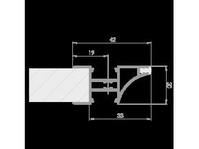 "Профиль ""LL-08""антиручка для торца полки ДСП 18мм L-3000мм для светодиодной ленты, алюминий (133000)"