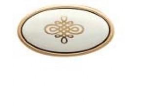 "24176P058 2J.07 ручка 1-крепление (овал) старое золото+фарфор крем /узор серия ""Grace"" (58х32х29мм)"