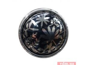 24316P035 BZ.32 ручка 1-кр, d-35мм хром + фарфор черный / узор серебро