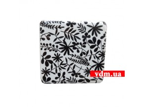 360017p ручка 1-крепление квадрат 55*55мм фарфор белый / узор черный