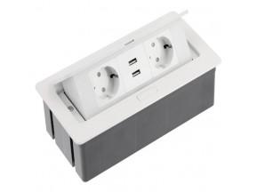 Блок розеток прячущийся белый SOFT с проводом 1,5м  (2 евророз.+USB) (AE-PBSUC2GS-10)(Е.)