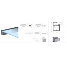 Профиль квадратный 45х30 мм для стеклянных полок под стекло 6/8 мм L-2,75 м