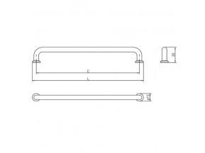 Ручка NORD шлифованное золото L-192мм (UZ-NORD-192-18)